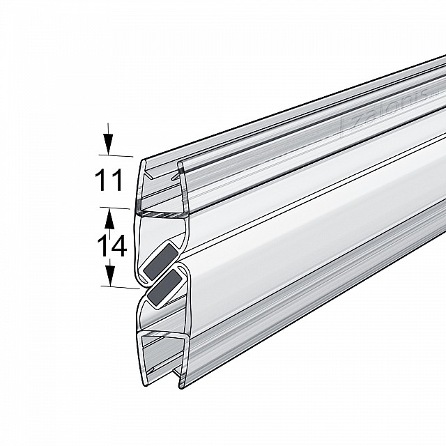 PAIR OF MAGNETIC SHOWER DOOR SEAL FOR 6-8mm GLASS